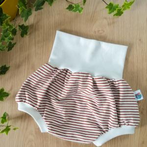 short évolutif rayures marron caramel oeko-tex gots enfant bébé jersey