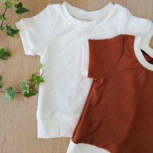 haut t-shirt évolutif maille coton cognac marron oeko tex evolutif bebe enfant