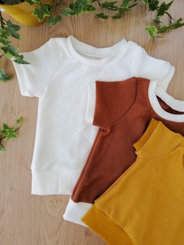 haut t-shirt évolutif maille coton marron crème moutarde oeko tex evolutif bebe enfant