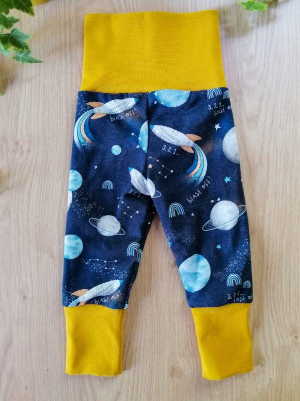 legging pantalon évolutif colorés coton spatiale vaisseaux galaxie étoiles ciel planètesbébé oeko-tex bébé enfant
