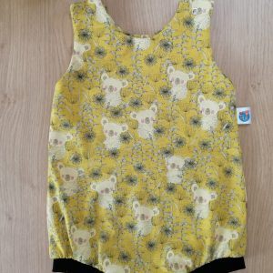 Tikiwi vêtement évolutif salopette combishort combinaison enfant bébé jersey oeko-tex koalas moutarde jaune noir animaux